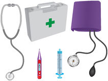 Medical items. Illustration of various medical tools including stethoscope, blood pressure monitor, syringe, medical box and thermometer Royalty Free Stock Photos