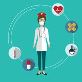 Medical items and female doctor. Flat icon of medical nurse with medical items. Flat design royalty free illustration