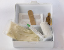 Medical kit. Basic contents of a kit to perform the first cure Royalty Free Stock Photos