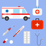 Medical kit. Flat design, vector illustration, vector Royalty Free Stock Image