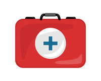 Medical Kit Icon Isolated. Realistic Emergency Bag. Medical kit icon isolated on white. Realistic emergency bag with red cross. Metal red briefcase. Health care Stock Images