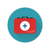 Medical Kit Icon Isolated. Realistic Emergency Bag. Medical kit icon isolated on white. Realistic emergency bag with red cross. Metal red briefcase. Health care Stock Photo
