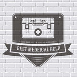 Medical kit logo or label template  with blurred Royalty Free Stock Images
