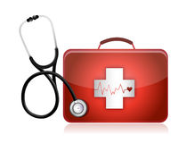 Medical kit with a Stethoscope Royalty Free Stock Photo