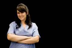 Medical or Lab Professional. Friendly medical or lab professional in blue scrubs Stock Image