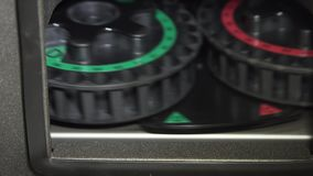 Medical laboratory centrifuge. Medical centrifuge for mixing in the laboratory. Tubes prepared in lab centrifuge machine . Modern technologies in medical stock video footage