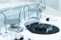 Medical laboratory centrifuge with test tubes with blood Royalty Free Stock Photography
