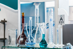 Medical and laboratory equipment at the exhibition Stock Photos