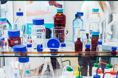Medical and laboratory equipment at the exhibition Royalty Free Stock Photo