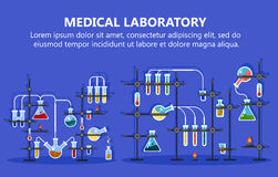 Medical laboratory equipment with glass flask Stock Photos