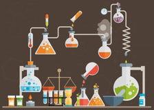 Medical laboratory infographics. Flat vector set Stock Photo