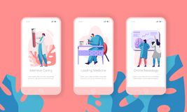 Medical Laboratory Mobile App Page Onboard Screen Set. Intensive Caring, Leading Medicine, Online Neurology. Clinical Pathology. Test Website or Web Page. Flat royalty free illustration