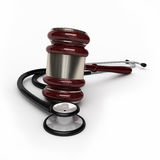 Medical law. 3d render gavel and stethescope ( on white and clipping path Stock Images