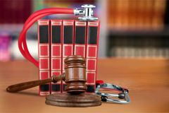 Medical law. Business gavel object photography trial mistreatment Royalty Free Stock Photo