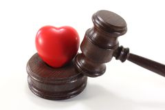 Medical law with heart and judges gavel Stock Photography