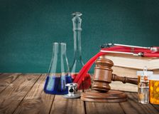 Medical. Legal rights closeup chemistry tubes law Royalty Free Stock Images