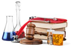 Medical. Legal rights closeup chemistry tubes law Royalty Free Stock Photo