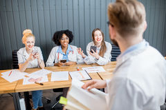 Medical lesson with group of students Royalty Free Stock Image