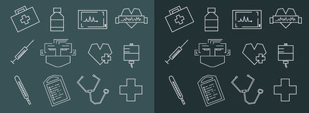 Medical line art icons set Stock Images