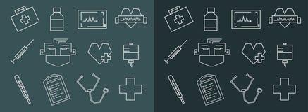 Medical line art icons set. Straight line rectangular chalk vector medical icons set Stock Images