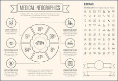 Medical Line Design Infographic Template Royalty Free Stock Photo