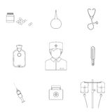 Medical line flat icon set with doctor, vector Royalty Free Stock Image