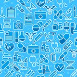 Medical blue background. Medical line icons background, medicine symbols in blue, medical. Vector illustration Royalty Free Stock Photos