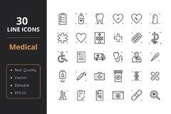 30 Medical Line Icons. High quality medical line icons. Icons for user interfaces and web Stock Photo