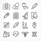 Medical line icons on white. Background, medicine symbols in grey, medical. Vector illustration Stock Images