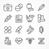 Medical line icons on white. Background, medicine symbols in grey, medical. Vector illustration Royalty Free Stock Photos