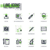 Medical line pixel items Stock Images
