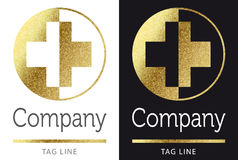 Medical logo in gold. Medical logo in bright gold Stock Photography