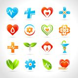Medical Logo Icons. Medical pharmacy and healthcare logo designs icons set  vector illustration Royalty Free Stock Photography