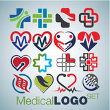 Medical logo set. This pack includes 16 medical logo concepts designed in a simple way so it can be use for multiple proposes like logo ,marks ,symbols or icons royalty free illustration