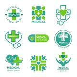 Medical logotypes. Medicine pharmacy clinic or hospital cross plus health care vector symbols design template. Illustration of hospital icon, health clinic vector illustration