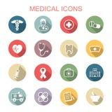 Medical long shadow icons Royalty Free Stock Photo