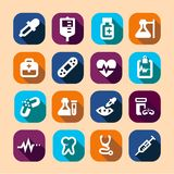 Medical long shadow icons Royalty Free Stock Photography