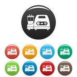 Medical lung device icons set color vector illustration