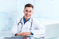 Medical male student in clinic. Royalty Free Stock Images