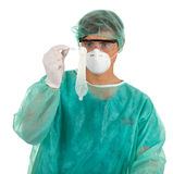 Medical man keeping condom Stock Images