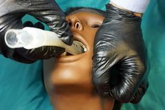 Medical manipulation for airway management. Laryngeal mask airway insertion by stuff in a black gloves on a simulation mannequin. Dummy during medical training stock images