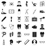 Medical manipulation icons set, simple style. Medical manipulation icons set. Simple set of 36 medical manipulation vector icons for web isolated on white Royalty Free Stock Image