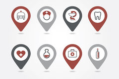 Medical mapping pins icons Royalty Free Stock Image