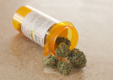 Medical Marijuana. In prescription bottle Stock Photography