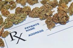 Medical marijuana buds with prescription paper Stock Photos