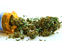 Medical Marijuana C. Medical marijuana pouring out of a prescription bottle against white Stock Photos