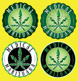 Medical marijuana cannabis green leaf design green stamps Royalty Free Stock Photo