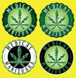 Medical marijuana cannabis green leaf design green stamps stock illustration