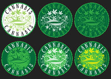 Medical marijuana cannabis leaves texture design green stamps Stock Images