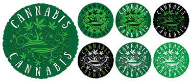 Medical marijuana cannabis leaves texture design green stamps Stock Photography